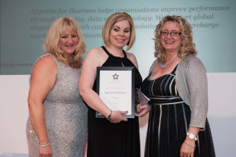 Sheryl Newman, director of Appetite for Business, receives the Business of the Year honour from Wendy Maltman (left) and Alison Henderson (right)